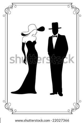 elegant couple - stock vector