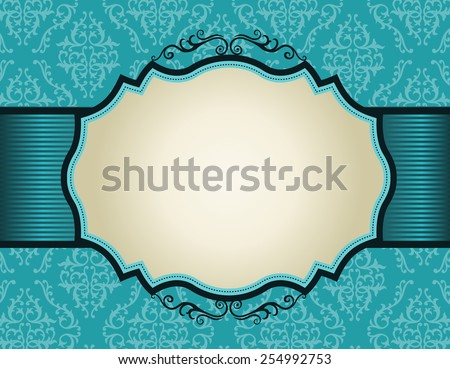 Elegant damask pattern background with turquoise ribbon.. perfect as stylish wedding invitations and other party invitation cards or announcements  - stock vector