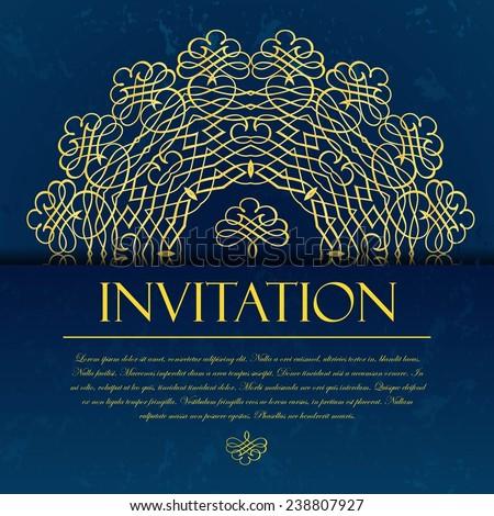 Elegant decorative blue invitation card with gold ornament and calligraphic inscription. - stock vector