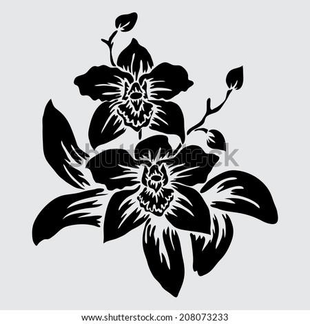 Elegant decorative orchid flowers, design element. Floral branch. Floral decoration for vintage wedding invitations, greeting cards, banners. - stock vector