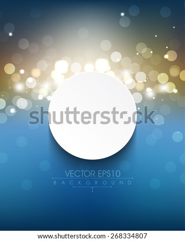 elegant defocused night lights with white round frame eps10 vector background - stock vector