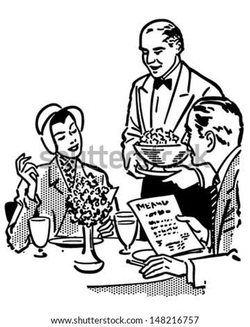 Elegant Dining Couple - Retro Clip Art Illustration - stock vector