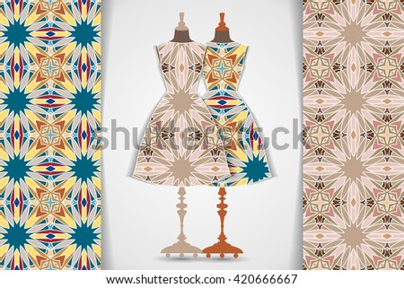 Elegant festive card with stylized body form dress mannequin over hand drawn tribal seamless background, fashion, for greeting, invitation card, or cover. Vector illustration.  - stock vector