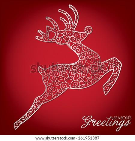Elegant filigree Christmas card in vector format. - stock vector