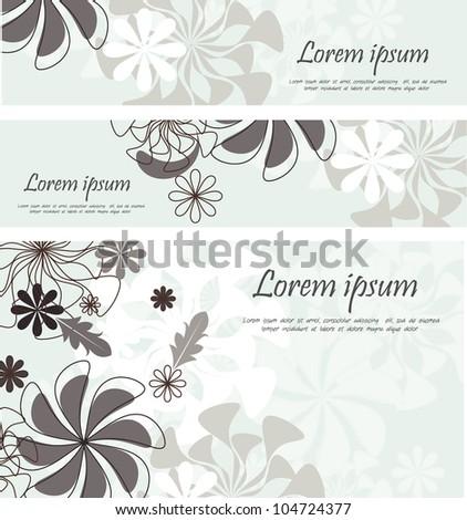 elegant floral banner set - stock vector