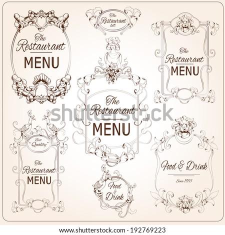 Elegant floral calligraphy retro style restaurant menu labels vector illustration - stock vector