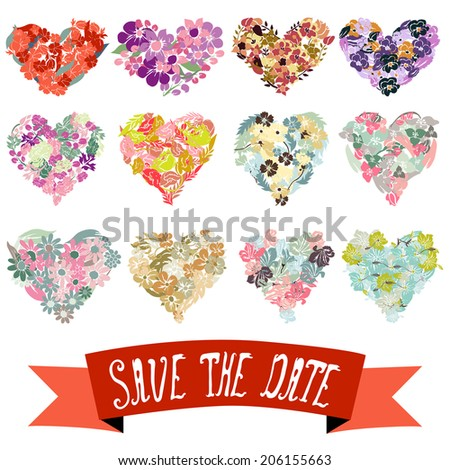 Elegant floral hearts, design elements. Floral compositions can be used for wedding, baby shower, mothers day, valentines day cards, invitations. Vintage decorative flowers. Save the date ribbon - stock vector