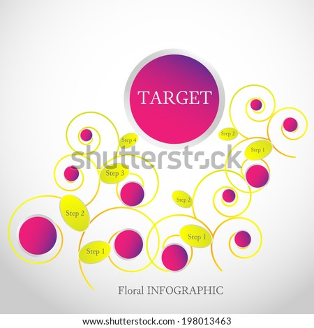 Elegant floral infographic element illustrates steps to the target in 3 ways. You can use 1, 2 or all of them. - stock vector