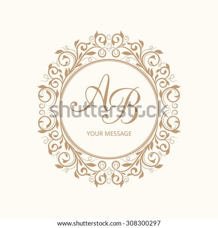 Elegant floral monogram design template for one or two letters. Wedding monogram. Calligraphic elegant ornament. Vector illustration. - stock vector