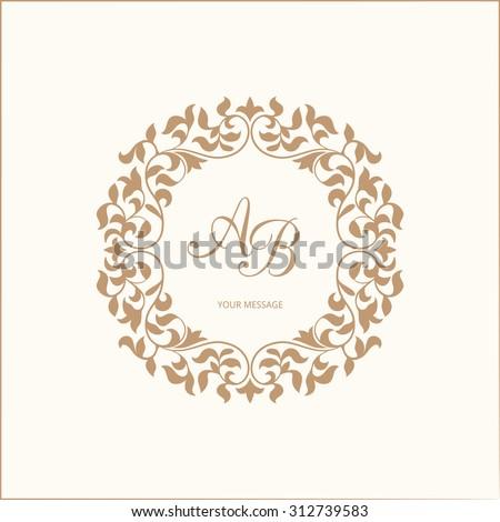 Elegant floral monogram design template for one or two letters . Wedding monogram. Calligraphic elegant ornament. Vector illustration. - stock vector