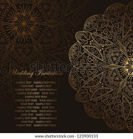 Elegant floral pattern in gold on a dark background. Stylish design. Can be used as a wedding invitation - stock vector