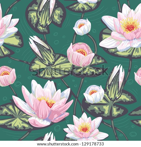 Elegant floral seamless pattern with water lily, leaves and petals in water - stock vector