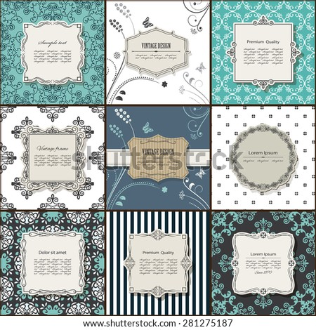 Elegant frame on pattern set. - stock vector