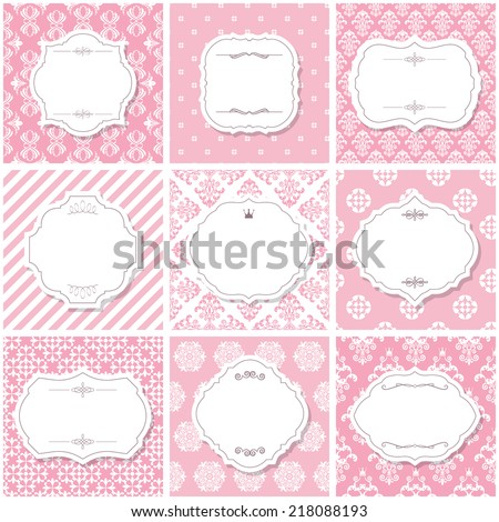 Elegant frame set on seamless patterns in pastel pink. - stock vector