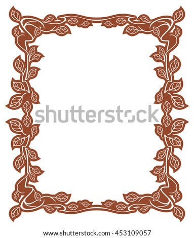 Elegant frame with leaves. Design element for advertisements, logo, banners, labels, prints, posters, web, presentation, invitations, weddings, greeting cards, albums. Vector clip art. - stock vector