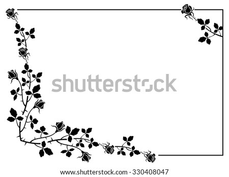 Elegant frame with roses silhouettes - stock vector