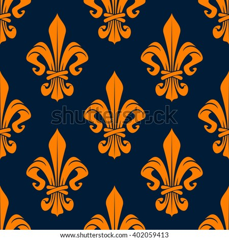 Elegant french fleur-de-lis seamless pattern with orange foliage compositions of tied leaf scrolls on dark blue background. Heraldry and monarchy, history or interior themes - stock vector