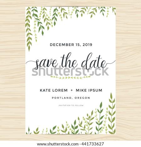 Elegant garden leafs design for save the date card, wedding invitation template. Vector illustration. - stock vector