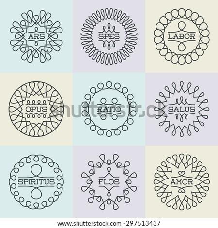 Elegant Geometric Frames Assorted Insignias Logotypes Template Set. Line Art Vector Vintage Style Elements. - stock vector