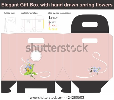 Elegant Gift Box with hand drawn spring flowers | Scalable template | Die-stamping - stock vector
