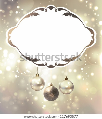 elegant glimmered Christmas poster with evening balls - stock vector