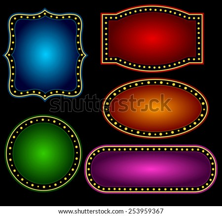 Elegant Glowing Retro Theater Marquee border / frame with shiny bulbs background collection specially for advertising / billboard projects - stock vector