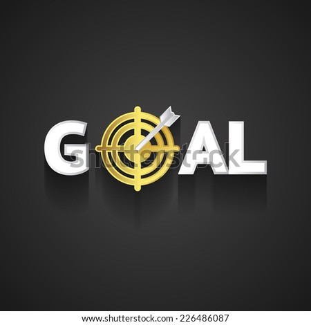 Elegant Goal Logo Design Emphasizing Arrow on Golden Target Concept  on Dark Gray Background - stock vector