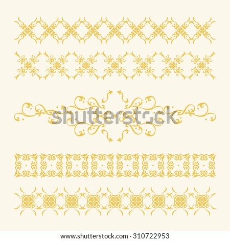Elegant Gold Decorations Collection. Set of graceful and fine golden calligraphic vector patterns and ornaments, useful to adorn pages, frames, borders, etc. Elegant graphic elements for your design. - stock vector