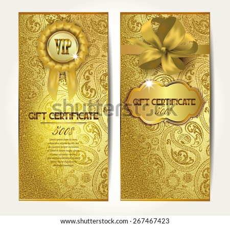 Elegant gold gift certificates with silk ribbons and floral design - stock vector