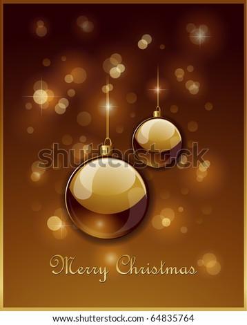 Elegant golden Christmas balls background - stock vector