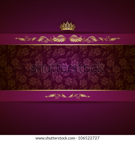 Elegant golden frame banner with crown on the ornate purple background. EPS 10. - stock vector