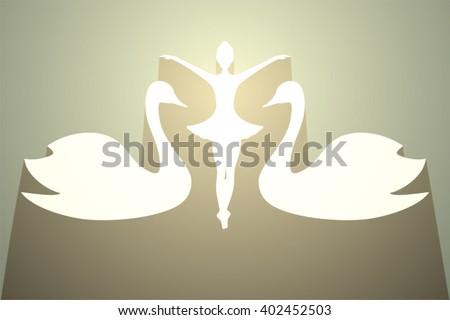 elegant golden swam and girl dancer - stock vector