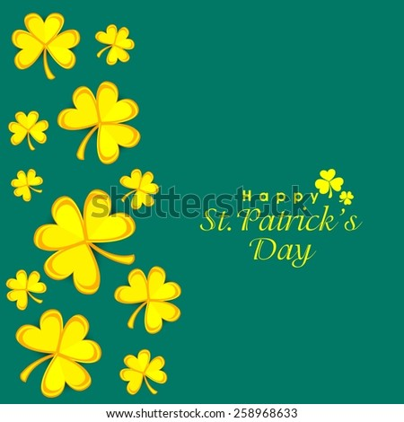 Elegant greeting card design decorated with yellow shamrock leaves for Happy St. Patrick's Day celebration. - stock vector