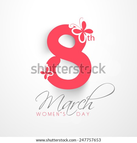 Elegant greeting card design for International Women's Day celebration on shiny background.  - stock vector