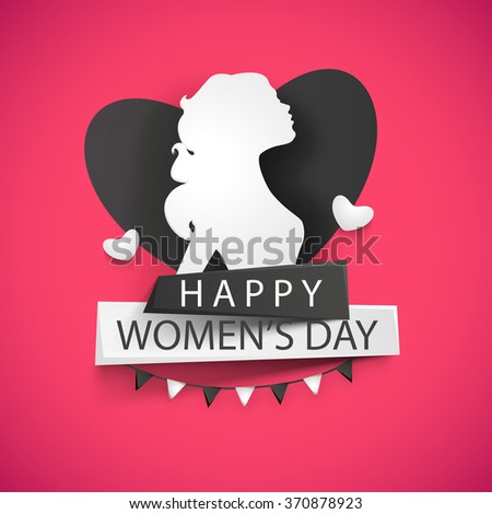 Elegant greeting card design with illustration of a young girl on heart decorated shiny pink background for Happy Women's Day celebration. - stock vector