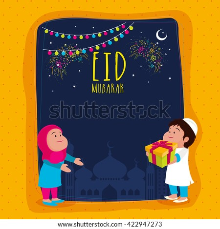 Elegant Greeting Card design with illustration of cute islamic couple on mosque silhouetted background for Muslim Community Holy Festival, Eid Mubarak celebration. - stock vector