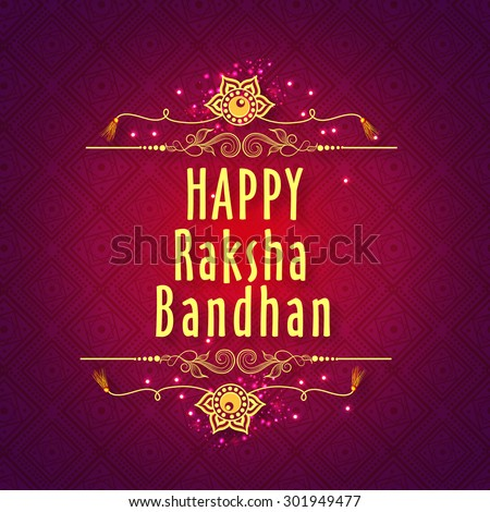 Elegant greeting card with beautiful rakhi on floral design decorated shiny purple background for Indian festival of brother and sister love, Happy Raksha Bandhan celebration. - stock vector