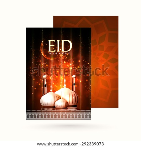 Elegant greeting card with envelope, shiny mosque and glowing crescent moon on floral design decorated background for famous festival of Muslim community, Eid Mubarak celebration. - stock vector