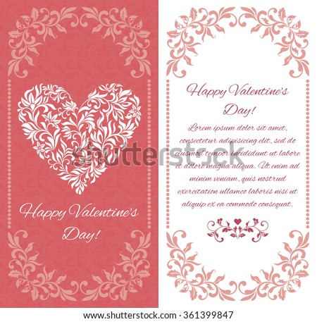 Elegant greeting postcard: Heart form floral ornament. There is a place for text - stock vector