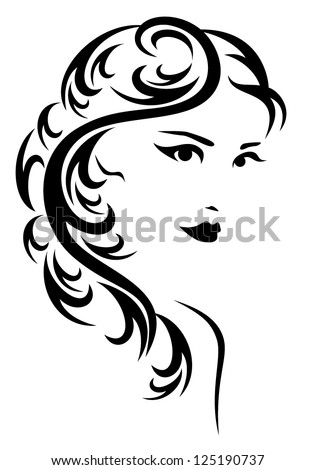 elegant hairstyle vector illustration - black and white stylized portrait of a beautiful woman with long hair - stock vector