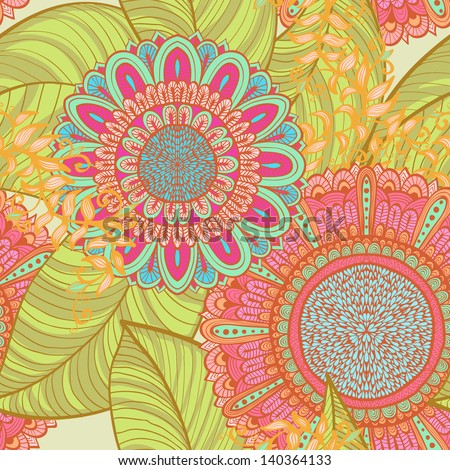 Elegant hand drawn seamless retro bright floral background - stock vector
