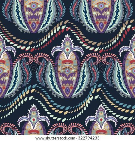Elegant Hand Drawn vector pattern. Decorative ornament seamless paisley pattern. - stock vector