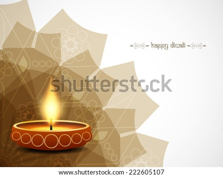 Elegant Happy Diwali vector card design. - stock vector