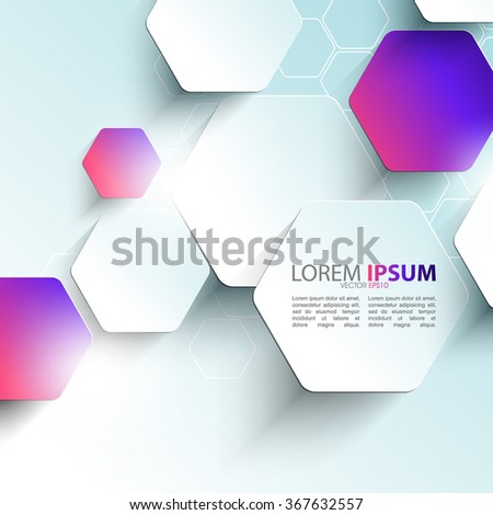 elegant hexagon shape elements corporate business background - stock vector