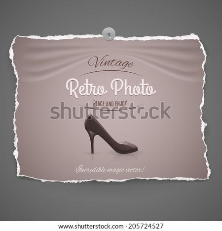 elegant high-heeled leather female shoe vintage retro photo with pushpin on gray background - stock vector