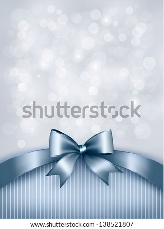 Elegant holiday background with gift blue bow and ribbon. Vector - stock vector