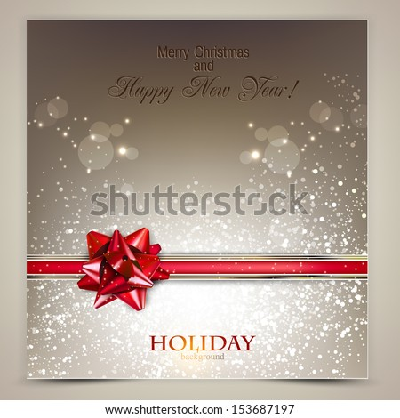 Elegant Holiday background with red bow and place for text. Vector Illustration. - stock vector