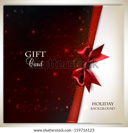 Elegant holiday background with red bow and place for text. Vector illustration - stock vector