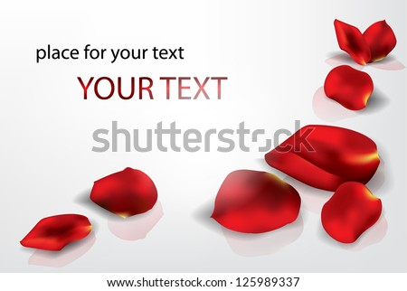Elegant holiday background with rose petals - stock vector