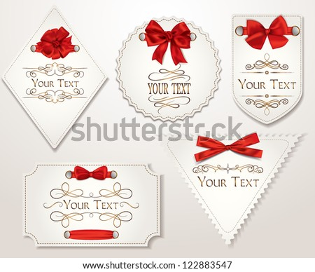 Elegant holiday cards with red silk ribbons - stock vector